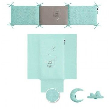 Colcha reversible  + protector de cuna Sweet Night menta