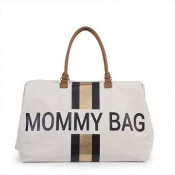 Bolso Mommy bag blanco linea negra/dorada